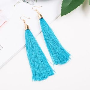 Long Turquoise Tassel Earrings with Gold Hardware